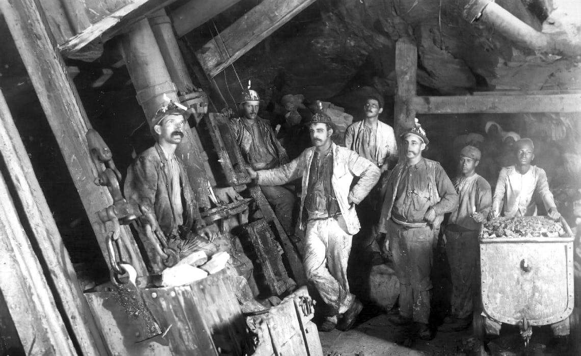 Cornish and Indian miners in the Kolar Gold Field, India