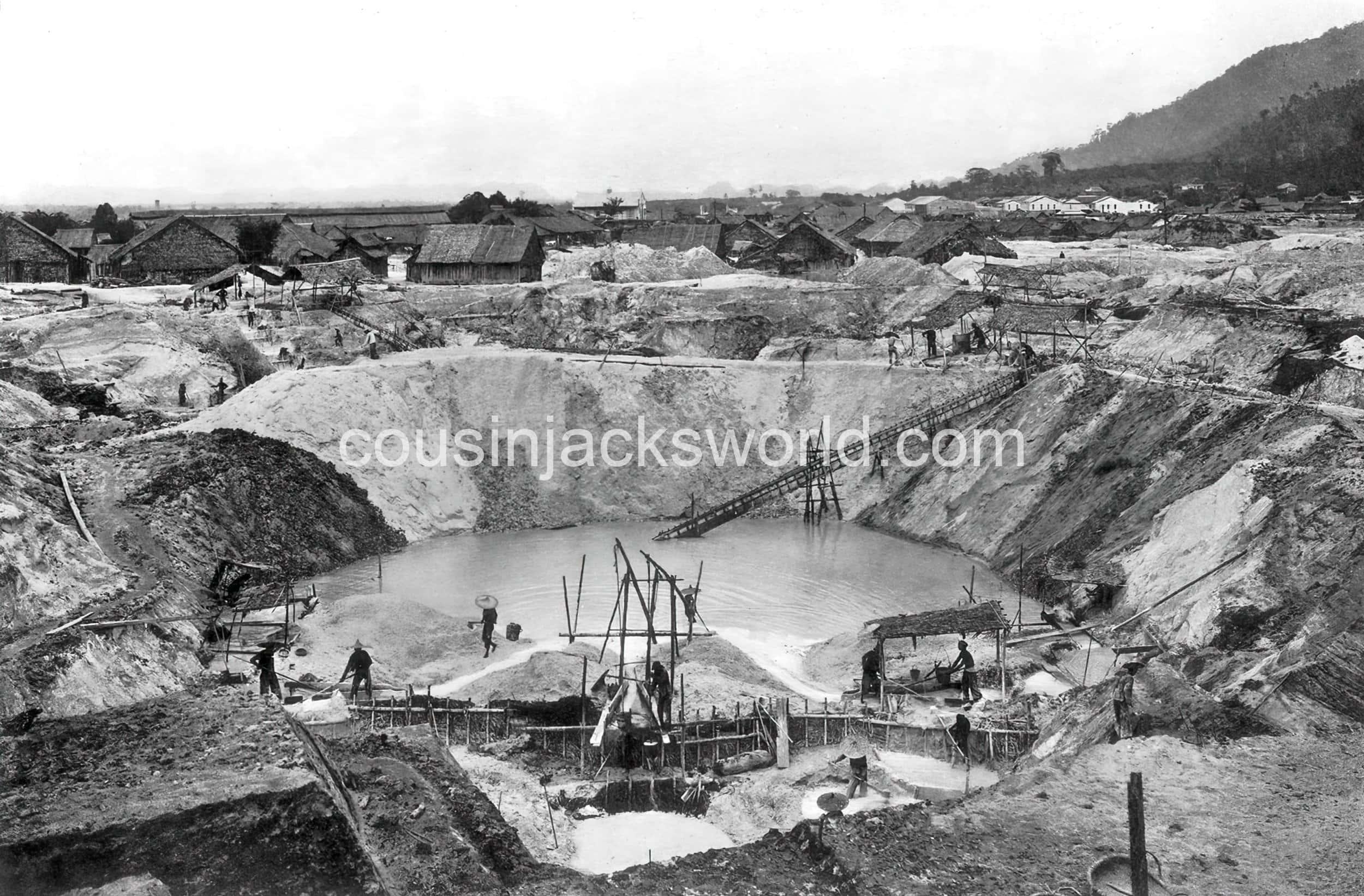 Opencast tin mine, Ipoh, Malaya. The demise of Cornish mining migration